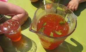 Beatos naminis limonadas ir šalta arbata