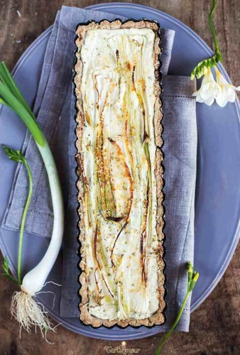 Savory tart with spring onions 3